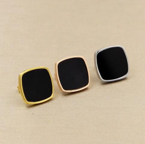Rose Gold Color Black Square Stud Earrings For Women Earing Stainless Steel Earings Fashion Jewelry