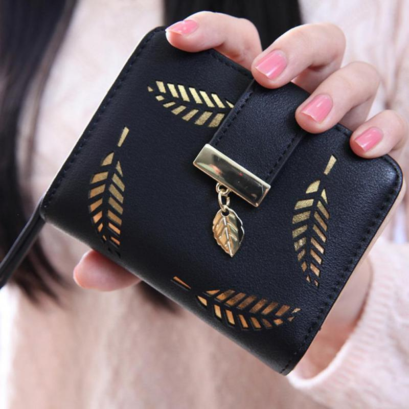 Women Short Wallet Female PU Leather Hollow Gold Leaves Pouch Fashion Woman Small Zipper Wallet Coin Purse For Ladies Money Bag цена