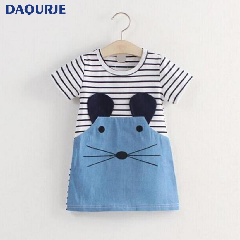 c512a541b New Kids Girls Dress Cute Mouse Children Clothing Striped Patchwork  Character girls dress Kids Clothes costume for age 2-6Y baby