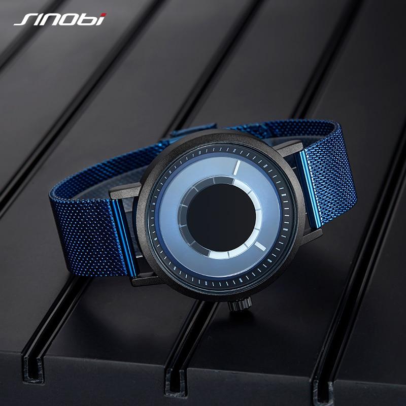 Saatler'ten Kuvars Saatler'de SINOBI yeni benzersiz döndür yaratıcı izle erkekler çelik ızgara Band kuvars kol saatleri spor rahat mavi erkekler saatler Reloj Hombre'da  Grup 3