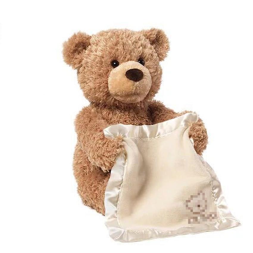 ZXZ Peek a Boo Teddy Bear Play Hide And Seek Lovely Cartoon Stuffed Kids Birthday Gift 30cm Cute Music Bear Plush Toy