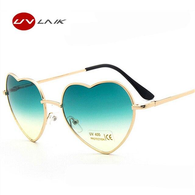 Wanita Cermin Matahari Kacamata Cinta Bingkai Logam Kacamata Fashion  Berbentuk Reflektif Wanita Jantung Kacamata Mewah Kacamata 4596d47492