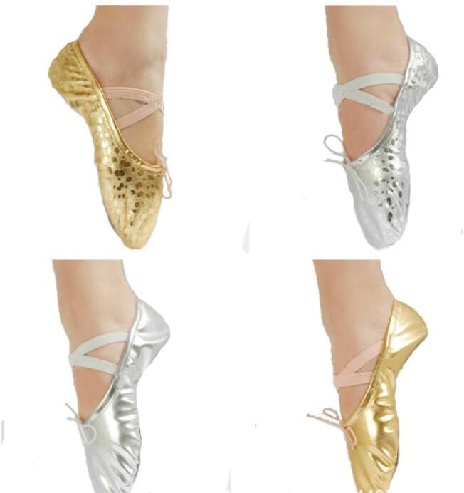 Gold Silver Size23~44 Children Soft Sole Girls Ballet Shoes Women Ballet Dance Rhythmic Gymnastics Shoes For Kids Adult Ladies