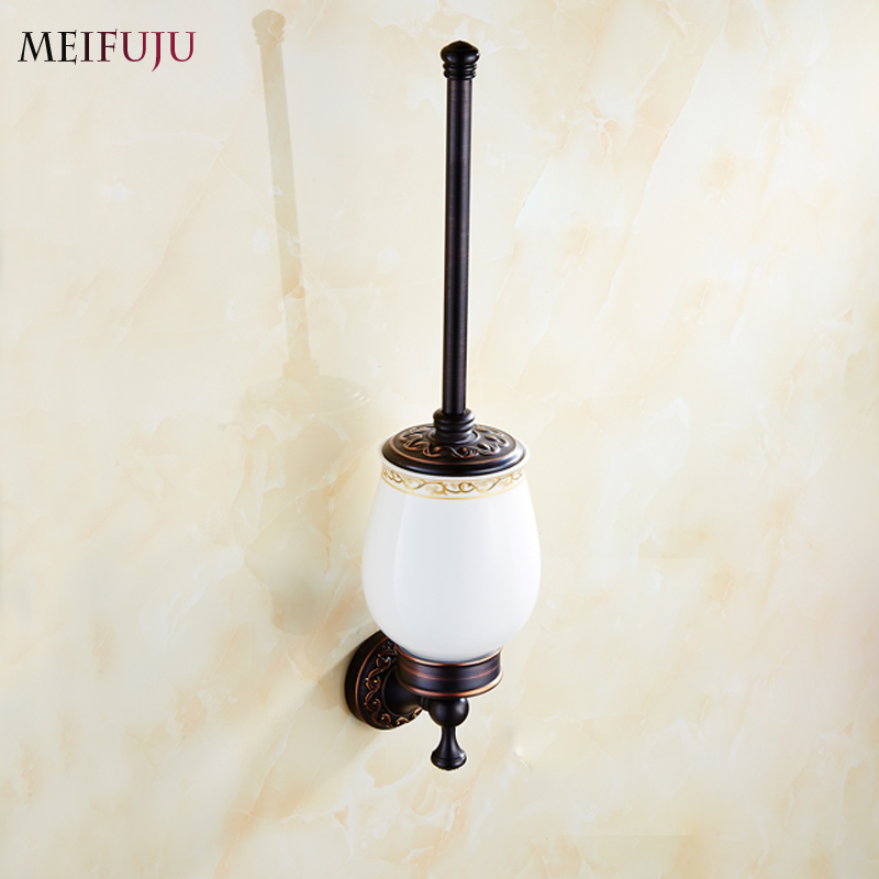 European Style Carving Bathroom Accessories Antique Black Bronze finished Toilet Brush Holder Bath Products brosse wc Hardware european luxury bathroom accessories antique bronze toilet brush holder bath products high quality free shipping