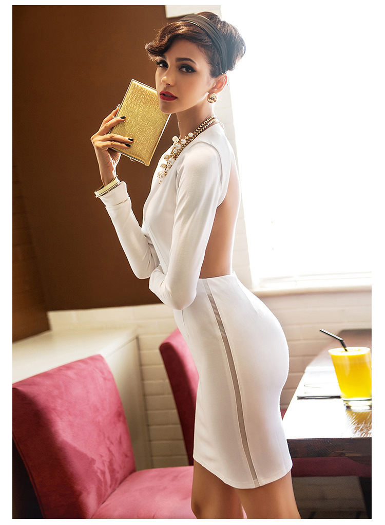 Nice Women Popular Fashion 4 Season Dress Ladies Sophisticated Sexy Big Dew Back  Design Slim Long Sleeves White Bandage Dinner Dress In Dresses From Womenu0027s  ...