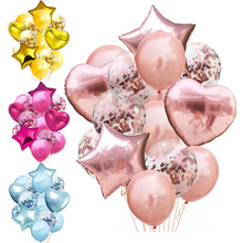 14pcs lot 12inch Latex 18inch Multi Confetti Balloons Birthday Party Helium Wedding Festival Balon Boy Girl Baby Shower DIY cheap DAWN PENTAGRAM ROUND Heart Wedding Engagement Christening Baptism St Patrick s Day Grand Event Retirement Gender Reveal