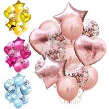 14 unids/lote 12 pulgadas látex 18 pulgadas Multi confeti globos fiesta de cumpleaños helio boda Festival Balon niño niña Baby Shower DIY