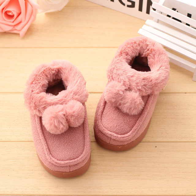 Winter Child Girls Home Shoes Warm Cotton Slipper Kids Cute Shoes With Ball Baby 'S Cotton Slippers Plush Velvet Thicken Shoes