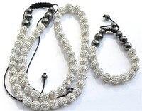 50% di sconto! 12mm 70 palla bianca wwdd micro pavimenta discoteca della cz borda il cristallo di shamballa set del braccialetto della collana fasion donne all'ingrosso.