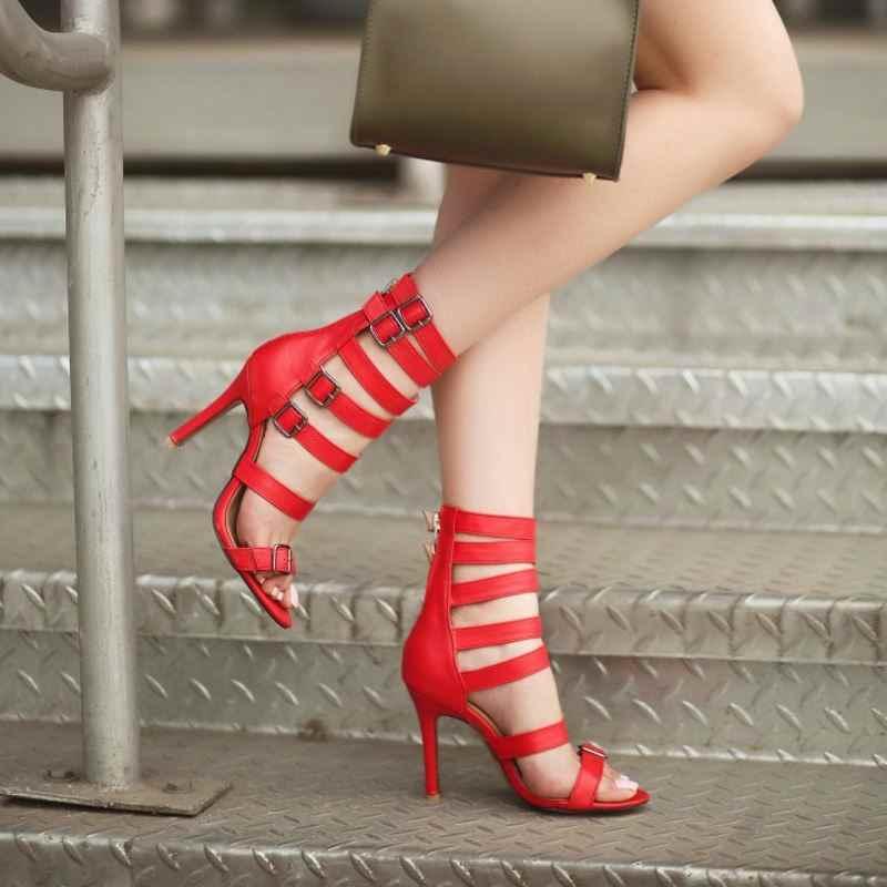 SJJH 女性グラディエータースチレットハイヒールオープントゥ 10 センチハイヒールバックル靴のファッションローマエレガントな靴大サイズ q350