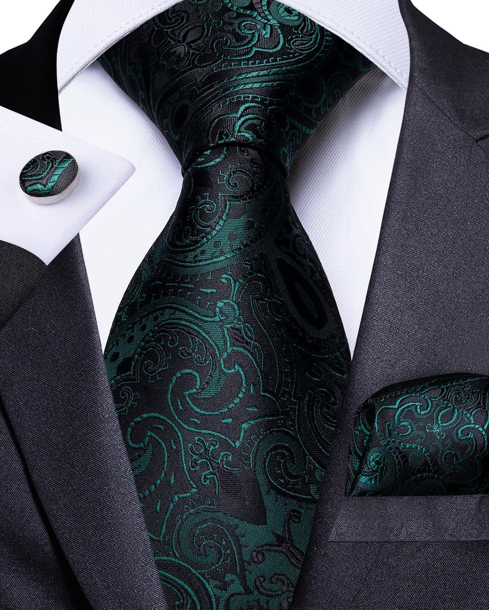 Men Tie Green Black Floral Necktie For Men Designer Tie Set Hanky Cufflinks Fashion Tie DiBanGu Business Wedding Party MJ-7177