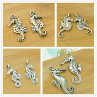 Alloy Pendant Antique Silver Diy Jewerly Finding Accessories Seahorse Ocean Animal Charm Bracelet Necklace Choker Free