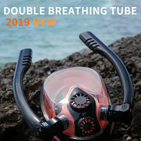 Diving Mask Scuba Mask Underwater Anti Fog Full Face Snorkeling Mask double breathing tube Men Swimming Snorkel Diving Equipment
