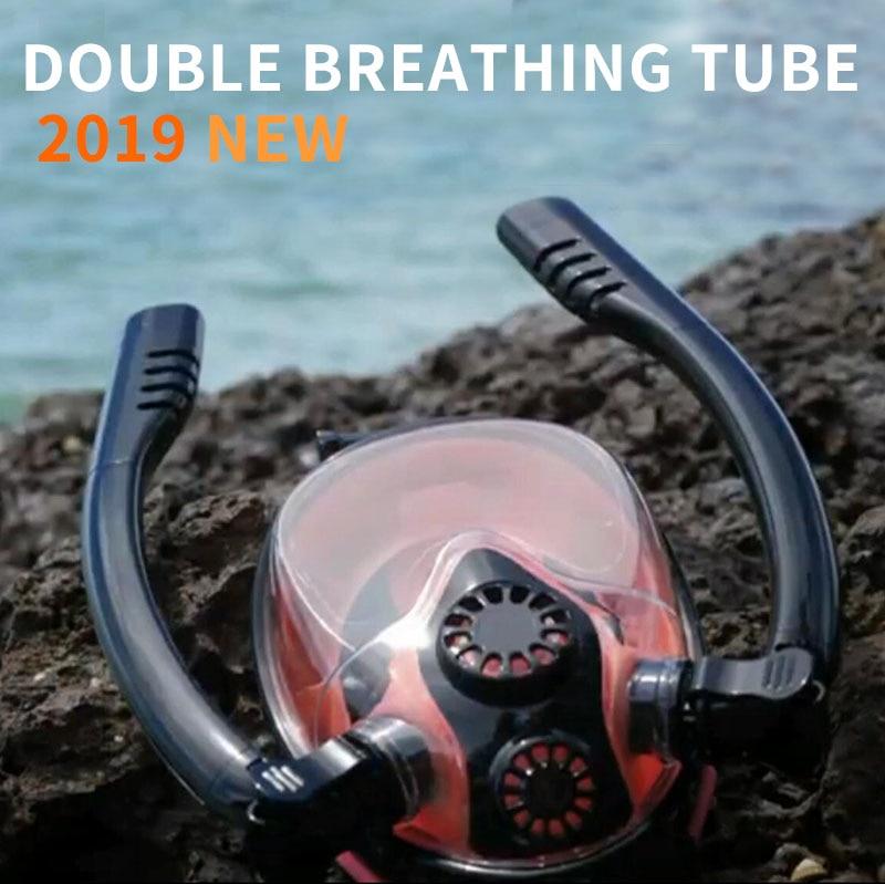 Masque de plongée masque de plongée sous-marine Anti-buée masque de plongée en apnée double tube respiratoire hommes natation tuba équipement de plongée