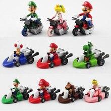 10 шт./лот Super Mario Bros Kart откатная машина Марио Луиджи Йоши Жаба гриб Принцесса Персик Ослик Конг фигурка игрушка
