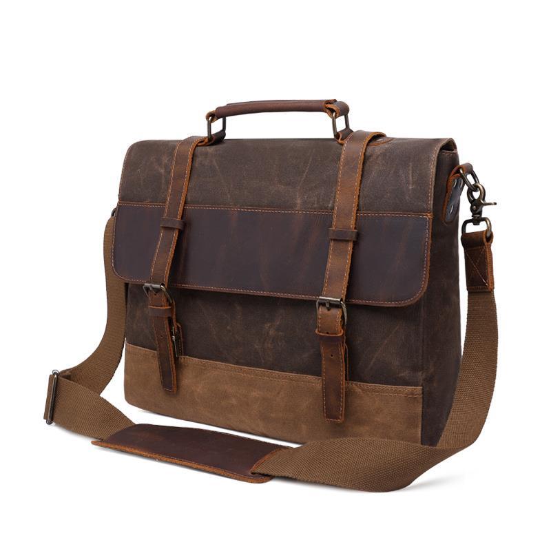 2019 New Arrival Waterproof 15 6 Laptop Messenger Bag Men Retro Crazy Horse Leather Belt Wax