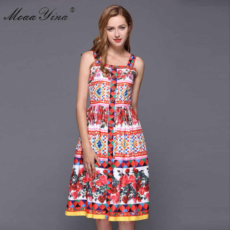MoaaYina мода взлетно-посадочной полосы сексуальное платье Лето Для женщин с низким вырезом на спине платье на бретельках с цветочным принтом-кнопки с рисунками алмаз Повседневное праздничное платье