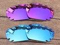 Plasma Púrpura y Azul 2 Pares de Espejo Polarizado Lentes De Repuesto Para Quijada Ventilación Marco de Gafas de sol 100% protección UVA y Uvb