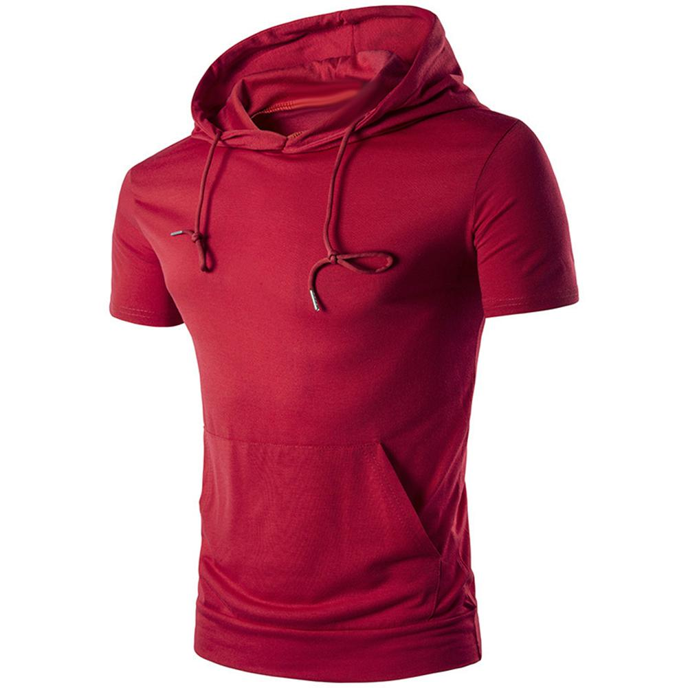 New Sports Men Summer Solid Color Short Sleeve Hoodies Hooded Sweatshirt With Pocket