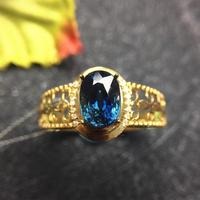 Sapphire ring 18k gold ring Free shipping Natural and real sapphire Fine sapphire Gem 5*7mm