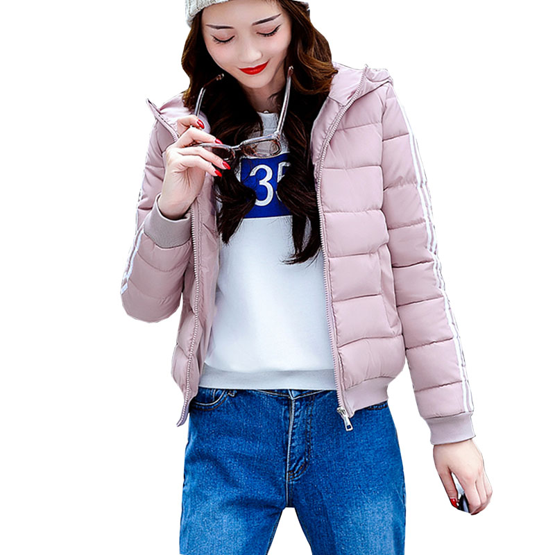Winter Jacket Women Cotton Short Jacket 2017 New Girls Padded Slim Hooded Warm Parkas Stand Collar Coat Female Outerwear 4L47 2017 winter new warm thick long coats for women stand collar slim parkas outerwear cotton padded jacket overcoat xxl