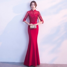Bride Traditional Chinese Dress Modern Cheongsam Oriental Bridesmaid Dresses Wine Red Mermaid Wedding Qipao Vestidos Orientais