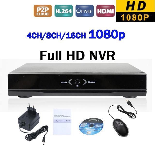 Nova Full HD 1080 P Gravador de Vídeo em Rede H.264 4CH 8CH 16CH NVR DVR IP P2P ONVIF HDMI Saída de Vídeo de Vigilância de Segurança de Rede