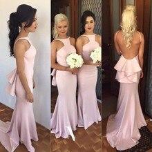 New Arrival Pink Mermaid Bridesmaid dresses 2017 Sexy Backless Sweep Train Long Vestido De Festa Cheap Women