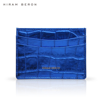 Hiram Beron CUSTOM NAME SERVICE wallet for men credit card holder Italian cow leather with embossed crocodile pattern dropship