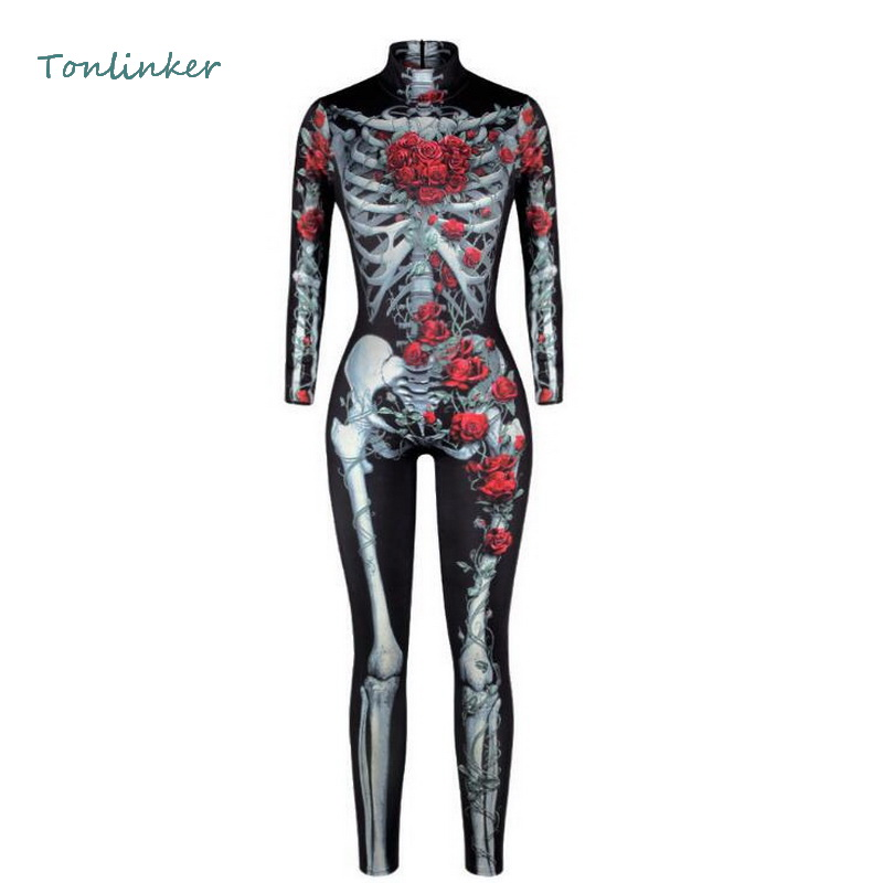 Tonlinker New Women Rose Skull Printing Jumpsuit Sexy Cosplay Costumes Halloween Bodysuit Rompers