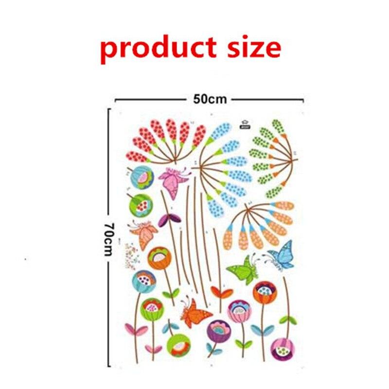 Пасторальный стиль простой Цветы бабочки стены стикеры Съемный красочный цветок лотоса гостиная детский сад наклейка для