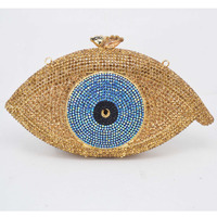 2015 New Evil Eye Silver Gold Color Crystal Day Clutches Angel Binoculus Bling Handbag Rhinestone Luxury