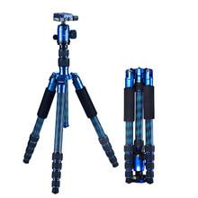 Manbily CZ-306 Colourful Professional Portable Carbon Fiber Camera Tripod Kit 5 Section Tripod Includes B10 Ball Head Blue Color
