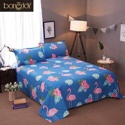 Bonenjoy 3 piezas juegos de sábanas planas con funda de almohada para cama individual Color Azul Rojo flamencos sábanas de cama para niños dibujos animados hoja de cama