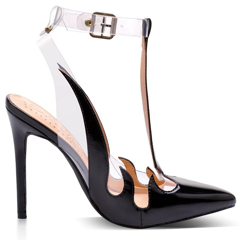 Różowy Palms buty marki kobiety sandały Trend sandały z pcw przezroczyste wysokie obcasy szpiczasty buty z palcami bez pięty u kobiet pompy w Wysokie obcasy od Buty na  Grupa 3