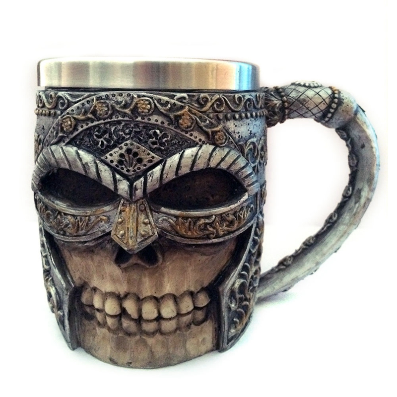3D Masked Knight Skull Mugs Double Wall Stainless Steel Resin Skull Drinking Beer Coffee Cup Mens Viking Warrior Drinkware Mug ...