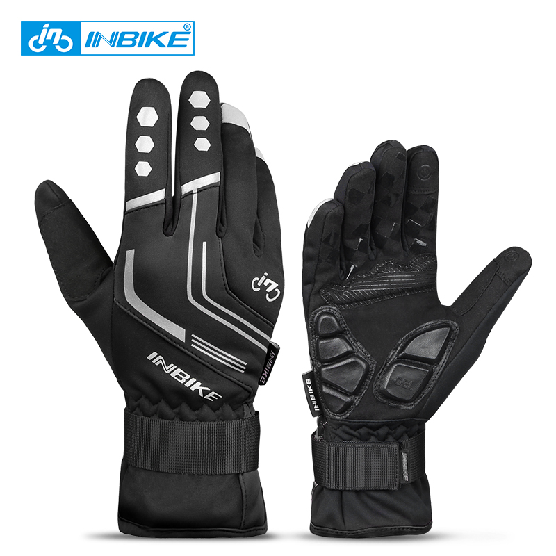 INBIKE 2019 Winter Cykelhandskar Gel Padded Thermal Full Finger Cykel Cykelhandskar Touch Screen Windproof Women Men's Gloves