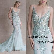 New Evening Gowns Dress Floor Length Mermaid Deep V Neck Lace Appliques  Mermaid Light Green Sheer b9da376cafac