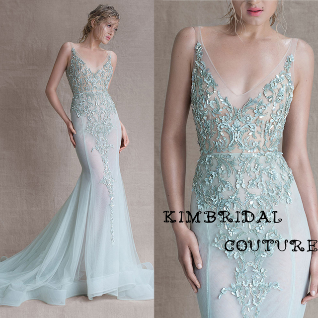 fb74b99e78 New Evening Gowns Dress Floor Length Mermaid Deep V Neck Lace Appliques  Mermaid Light Green Sheer Prom Dress Paolo Sebastian