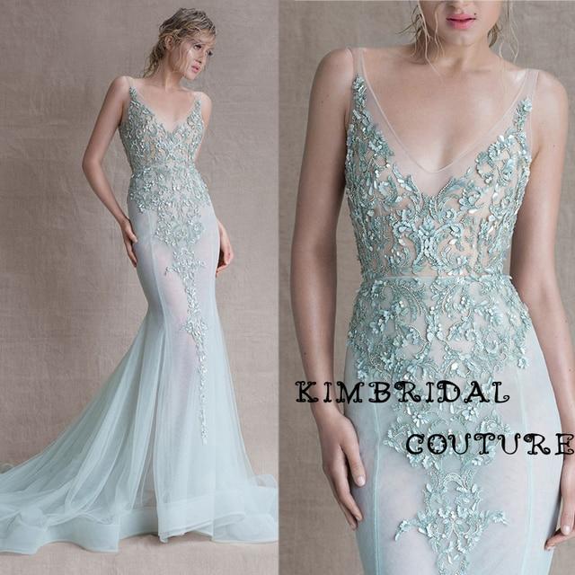fb74b99e78 New Evening Gowns Dress Floor Length Mermaid Deep V Neck Lace Appliques  Mermaid Light Green Sheer Prom Dress Paolo Sebastian