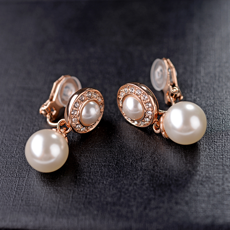 Clip Earrings Pearl-Jewelry Piercing No-Hole Cubic-Zirconia Women AAA Without For Christmas-Gift