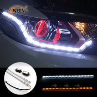 OKEEN 2x Car Flexible White Amber Switchback LED Knight Rider Strip Light Headlight Sequential Flasher DRL