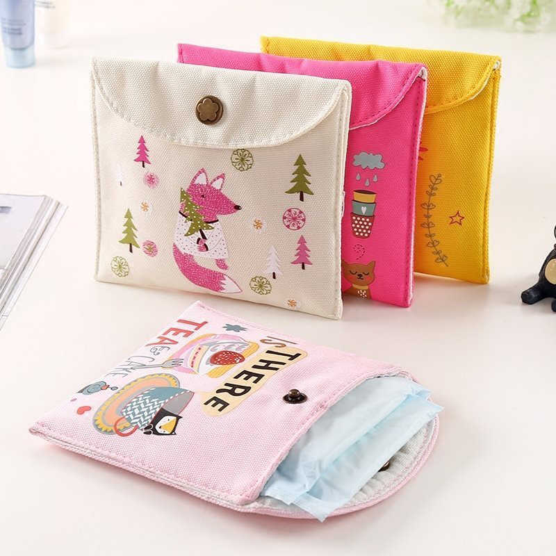 Girls Diaper Sanitary Napkin Storage Bag Canvas Sanitary Pads Package Bags Coin Purse Jewelry Organizer Credit Card Pouch Case 4