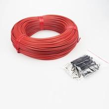 Câble chauffant rouge de Fiber de carbone de Thermostat de pièce de plancher chaud infrarouge lointain de caoutchouc de Silicone