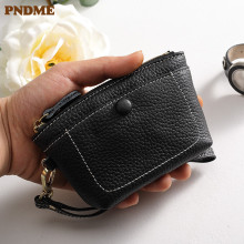 PNDME casual simple cowhide leather mini ladies clutch bag black genuine coin purse ID holders card womens wallets