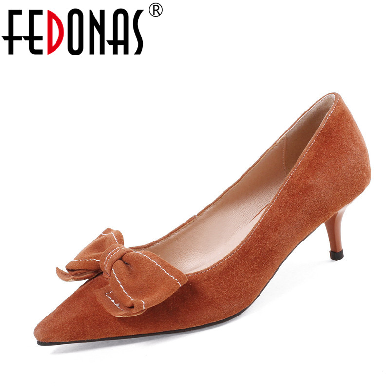 FEDONAS 2018 New Sexy Women Pumps Fashion Pointed Toe Thin Heels High-quality Suede Wedding Party Shoes Woman Cute Bowknot Pumps lakeshi new fashion pumps thin sexy high heeled shoes woman pointed suede hollow out bowknot sweet elegant women shoes