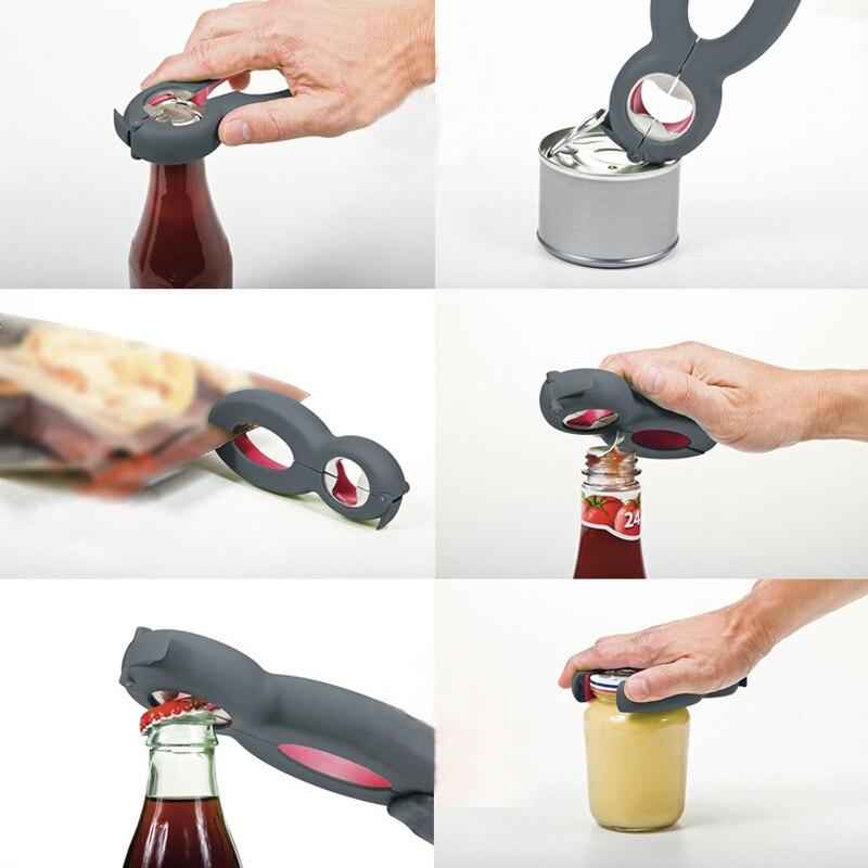 6 In 1 Multi Function Twist Bottle Opener, All In One Jar Gripper Can Wine Beer Lid Twist Off Jar Opener Claw