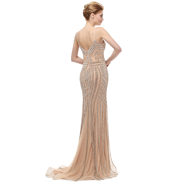 Robe De Soiree Glitter Evening Dresses with Crystals Plus Size Long Champagne Prom Dresses Beautiful Mermaid Party Gowns LX116 1