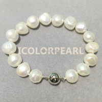 WEICOLOR Big 10 11mm Baroque White Real Cultured Freshwater Pearl Jewelry Bracelet With a Magnet Clasp.