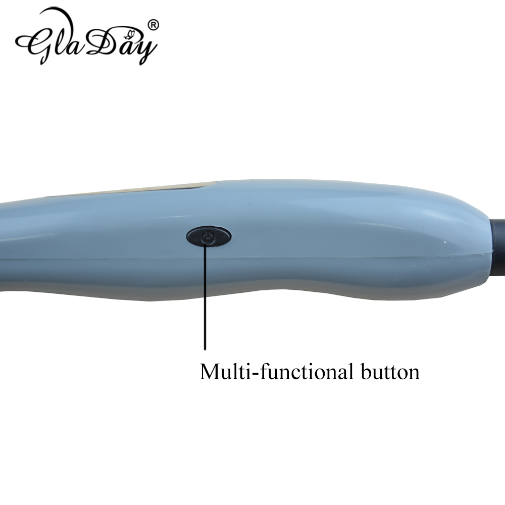 Купить с кэшбэком Gladay Tourmaline Ceramic Hair Curlers Rollers Professional Styling Tools LED Display Hair Curling Tong Irons Dual Voltage